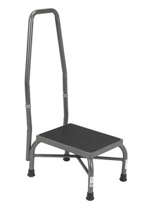 Heavy Duty Bariatric Footstool with Non-Skid Rubber Platform and Handrail (431901)