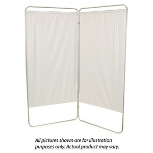 """Standard 2-Panel Privacy Screen - White 6 mil vinyl, 35"""" W x 68"""" H extended, 19"""" W x 68"""" H x1.5"""" D folded (650100W)"""