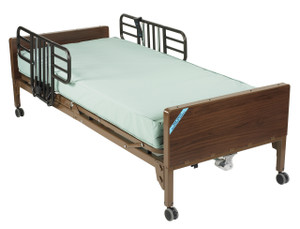Delta Ultra Light Semi Electric Hospital Bed with Half Rails and Therapeutic Support Mattress