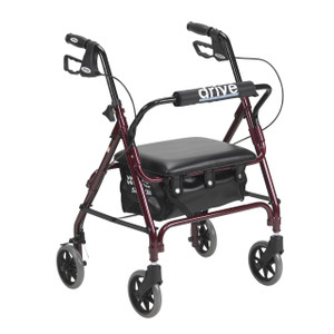 Junior Rollator with Padded Seat, Red