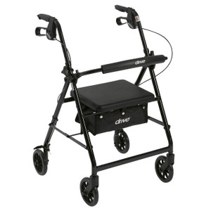 """Rollator Rolling Walker with 6"""" Wheels, Fold Up Removable Back Support and Padded Seat, Black"""