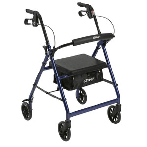 """Rollator Rolling Walker with 6"""" Wheels, Fold Up Removable Back Support and Padded Seat, Blue"""