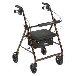 """Rollator Rolling Walker with 6"""" Wheels, Fold Up Removable Back Support and Padded Seat, Red"""