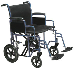 """Bariatric Heavy Duty Transport Wheelchair with Swing Away Footrest, 20"""" Seat, Blue"""