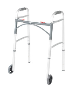 """Deluxe Two Button Folding Walker with 5"""" Wheels"""