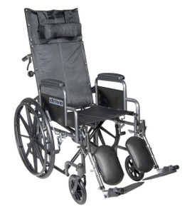 "Silver Sport Reclining Wheelchair with Elevating Leg Rests, Detachable Desk Arms, 18"" Seat"