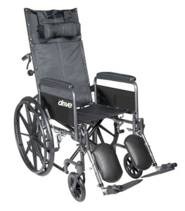 "Silver Sport Reclining Wheelchair with Elevating Leg Rests, Detachable Full Arms, 20"" Seat"