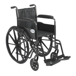 """Silver Sport 2 Wheelchair, Non Removable Fixed Arms, Swing away Footrests, 18"""" Seat"""