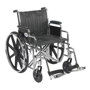 "Sentra EC Heavy Duty Wheelchair, Detachable Desk Arms, Swing away Footrests, 20"" Seat"