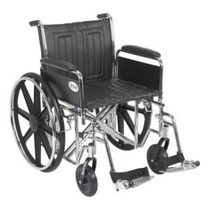 "Sentra EC Heavy Duty Wheelchair, Detachable Full Arms, Swing away Footrests, 20"" Seat"