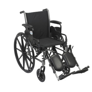 "Cruiser III Light Weight Wheelchair with Flip Back Removable Arms, Desk Arms, Elevating Leg Rests, 16"" Seat"