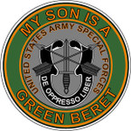STICKER US ARMY VET SPECIAL FORCES GREEN BERET SON