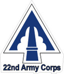 STICKER US ARMY UNIT  22ND CORPS SHIELD