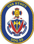 STICKER U.S. Navy USS Stout DDG 55 Destroyer Emblem Crest