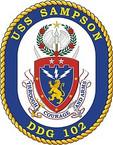 STICKER U.S. Navy USS Sampson DDG 102 Destroyer Emblem Crest