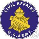 STICKER U S ARMY BRANCH CIVIL AFFAIRS UNIT