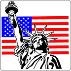 STICKER PATRIOTIC STATUE OF LIBERTY US FLAG DECAL