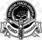 STICKER US ARMY 403RD SPECIAL FORCES SKULL
