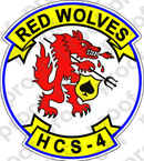 STICKER USN HCS 4 RED WOLVES SEA COMBAT SQUADRON