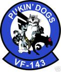 STICKER USN VF 143 FIGHTER SQUADRON PUKIN DOGS