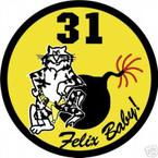 STICKER USN VF  31 FIGHTER SQUADRON FELIX BABY