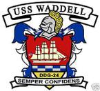 STICKER USN US NAVY DDG 24 USS WADDELL