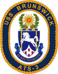 STICKER USN US NAVY ATS 3 USS BRUNSWICK