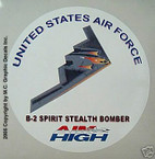 STICKER USAF VET B-2 SPIRIT STEALTH BOMBER