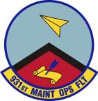 STICKER USAF 931st Maintenance Operations Flight Emblem