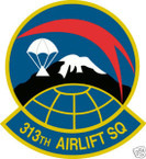 STICKER USAF 313TH AIRLIFT SQUADRON