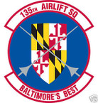 STICKER USAF 135TH AIRLIFT SQUADRON