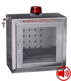 Compact Stainless Steel AED Wall Cabinet - Audible Alarm-Strobe Light