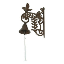 Outdoor Wall Mount Brown Cast Iron Bird and Functional Bell