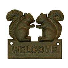 "Cast Iron Squirrel 5"" x 4.5"" Welcome Plaque"