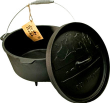Old Mountain Cast Iron 8 Quart Footed Dutch Oven with Lid