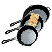 "Old Mountain Cast Iron 6 1/2"", 8"" and 10 1/2"" Skillet Set"