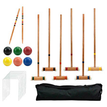Crown Sporting Goods Croquet 6 Player Backyard Lawn Game Set with Case SCRQ-001