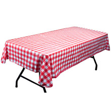 "Red and White Vinyl Flannel Backed 52"" x 70"" Table Cloth MPAR-401"