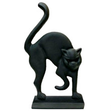 "Black Cat with Glass Eyes Cast Iron 12"" x 7"" Doorstop"