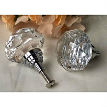 Large Crystal Clear Solid Glass Drawer Pull
