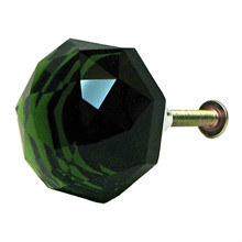 Large Emerald Green Solid Crystal Glass Drawer Pull