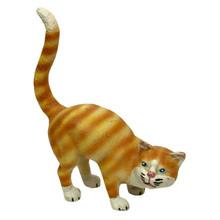 "Yellow Striped Tabby Cat 11"" x 11"" Cast Iron Doorstop"