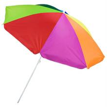 Sol Coastal 6' Polyester Rainbow Color Beach Umbrella with Plastic Pole SBUM-001