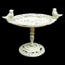 Antique White Cast Iron Bird Bath on Pedestal Stand