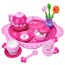 Pink Blossoms 16 Pc Wood Tea Set For Two Age 3+ Imagination Generation TEAT-009