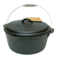Old Mountain Cast Iron 8 Qt Flat Bottom Dutch Oven with Dome Lid
