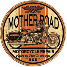 Mother Road Motorcycle Repair Tin Sign