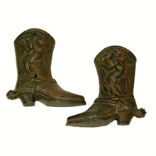 Rust Color Cast Iron Western Cowboy Boots Wall Decor Set of 6
