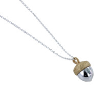 Reeves & Reeves - Large Sterling Silver and Gold Plated Acorn Necklace