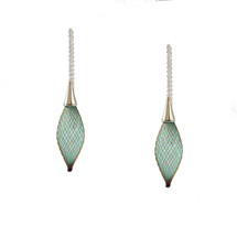 VLUM - Chainettes Épineuses Silver, Brown and Green Threader Earrings